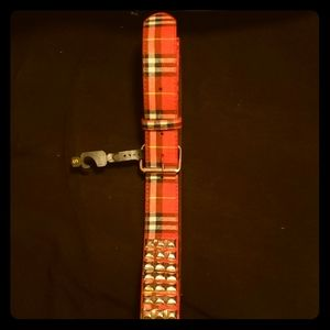 MK red plaid studded leather belt